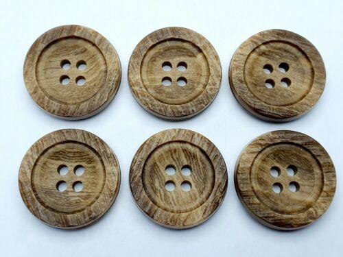 2,3cm Farbe Braun Hohe Qualität 6 St Knöpfe Knopf  Kunststoff 23mm k10