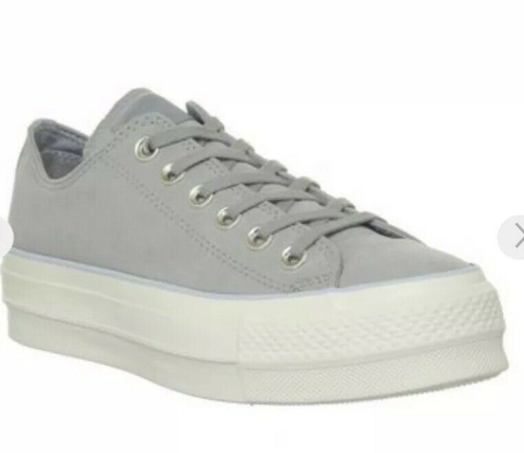 USS Womens Converse All Star Low Platform Dolphin Porpoise Egret Uk 6