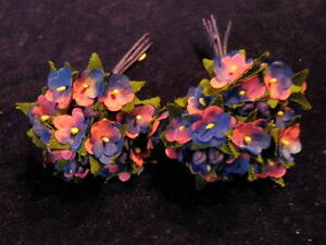 Millinery-Flower-Doll-Size-1-2-034-Pink-Blue-Lot-2bnch-For-Hat-Headbands-Hair-KD3