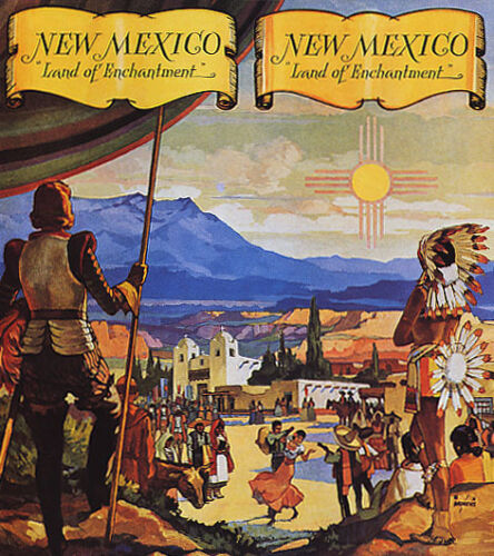 NEW MEXICO LAND OF ENCHANTMENT INDIANS SPANISH DANCE MUSIC VINTAGE POSTER REPRO
