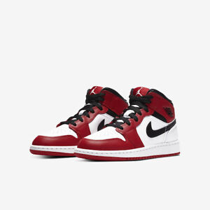 Details about Nike Air Jordan 1 Mid GS Chicago White Toe Gym Red MULTIPLE  SIZES