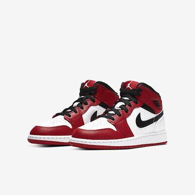 Nike Air Jordan 1 Mid GS Chicago White Toe Gym Red MULTIPLE SIZES | eBay