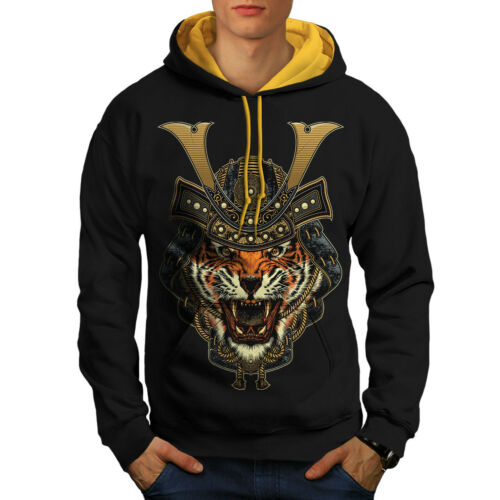 Casual Jumper Wellcoda Warrior Tiger Cool Animal Mens Contrast Hoodie