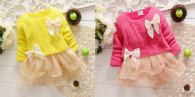 1pc New Girl Kids Baby Bowknot Crochet Knit Gauze Top Dress Clothes Outfit 0-24M