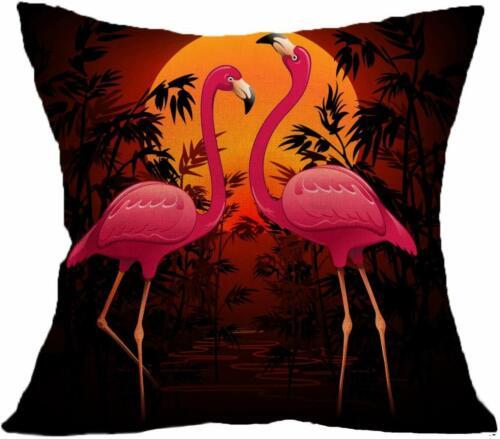 Sunset Flamingo Pattern Pillow Cases Throw Cushion Cover Cotton Linen 45*45 cm
