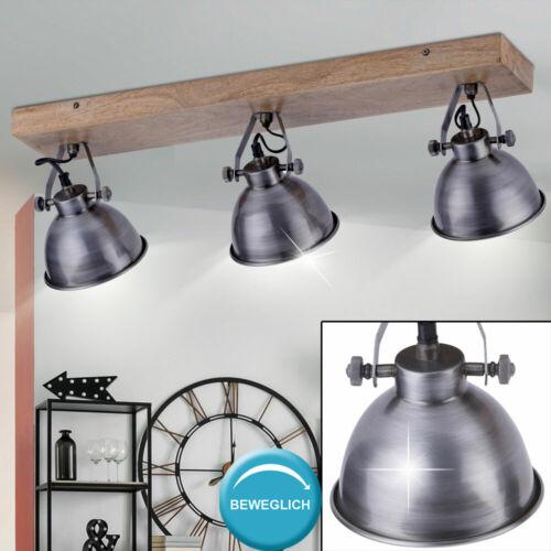 VINTAGE Decken Leuchte Wohn Ess Zimmer Wand Spot Strahler Holz Lampe schwenkbar