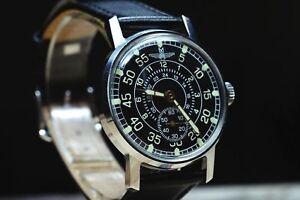 Pobeda-Russian-Military-Mechanical-WRIST-WATCH-black-leather-strap