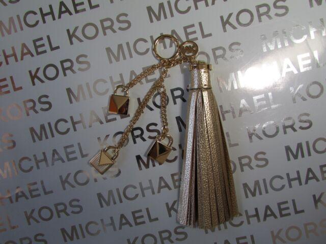 f054c707d7 Michael Kors Charms Leather Mercer Lock Tassel Key Ring Fob Bag Charm Gold