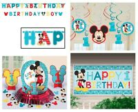 Mickey Mouse 1st Birthday Kit Party Supplies ( Banner, Table Decor Kit, Swirls )