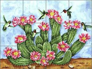 Ceramic-Tile-Backsplash-Mural-Mullen-Southwest-Cactus-Hummingbirds-Art-SM049