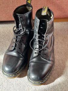 Dr Martens Made In England Vintage 1460 Boots -  8 Eye Black Size UK 12 Black