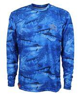 Guy Harvey Legend Camo Blue Performance Fishing Shirt - Pick Size-free Ship