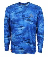 Guy Harvey Legend Camo Blue Performance Fishing Shirt - Pick Size-free Ship