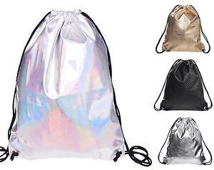 Mens Womens Holographic Drawstring Bag Silver Leather Gym Bag ...