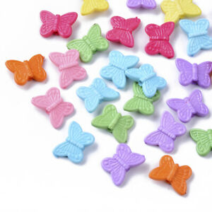 50 Acrylic Butterfly Beads 15mm Assorted Lot Mixed Bulk Jewelry Supplies Mix