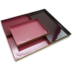 Tablett rund dunkel Pastell Rot  lasiert Metall Kerzen Teller Rand Gold 23 cm