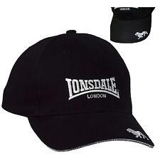 Lonsdale Premium Black Baseball Cap Hat Embroided Logo Cotton Adjustable Size