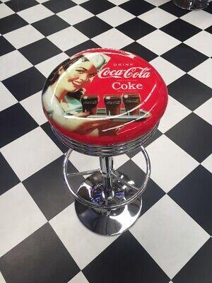 Trademark Gameroom Coke black Ribbed bar Stool Coca-Cola Twin Bottles with Straw Bottle Art