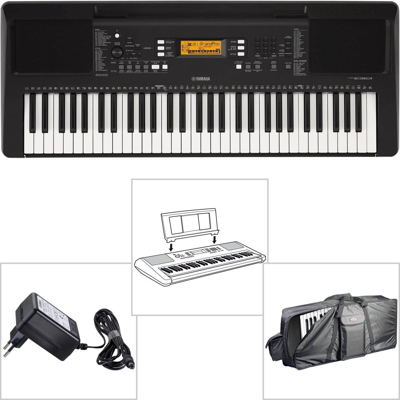 Yamaha PSR E363 Keyboard für Anfänger mit Trage Tasche + Netzteil + Notenablage
