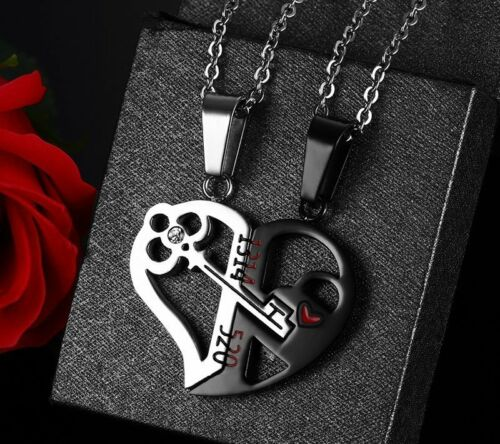 2pcs Love You Stainless Steel Love Heart Lock /& Key Couple Pendant Necklace Gift