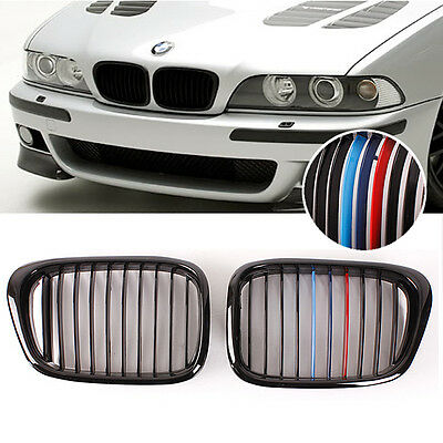 Front Gloss Black M-color Wide Kidney Grille Grill For BMW E39 5-Series M5 97-03