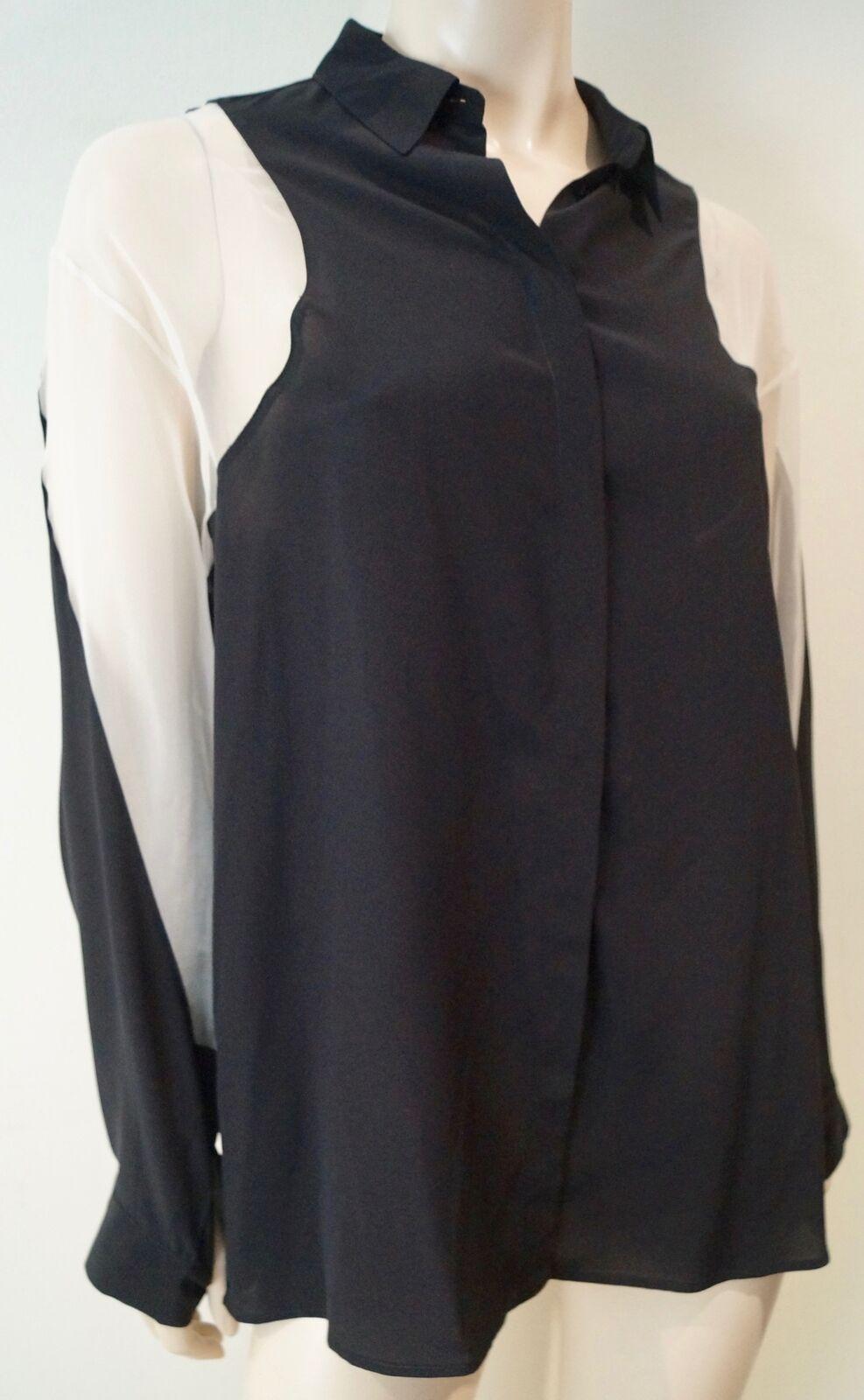 STELLA MCCARTNEY schwarz Silk Cream Sheer Panelled Collarot Blouse Top 42 UK12