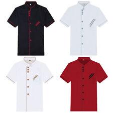 Chef Working Jacket Coat Restaurant Kitchen Catering Cooker Uniform Short Sleeve