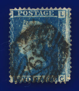 1858-SG45-2d-Blue-Plate-8-G2-LC-Misperf-London-Good-Used-Cat-FU-45-cdyw