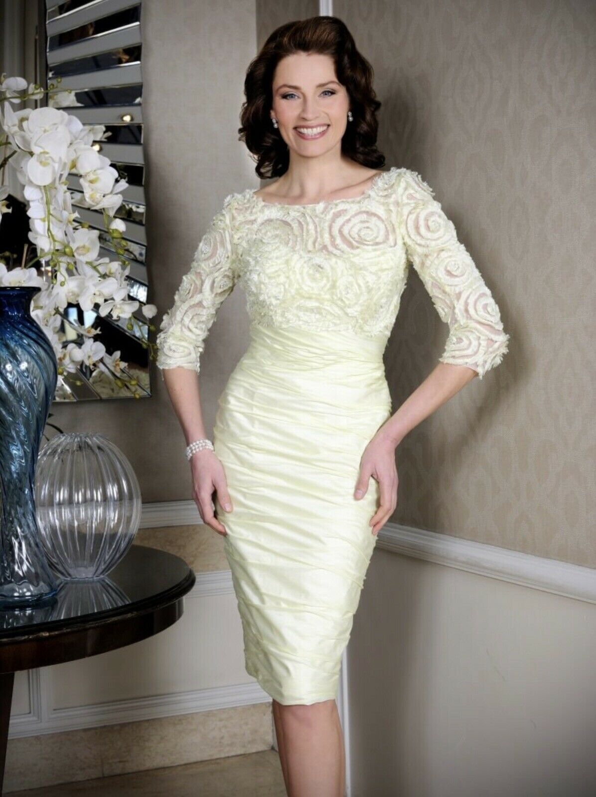 Ian Stuart ISL882 Dress & Hatinator, Mother Of The Bride Groom, Lime Sorbet UK12