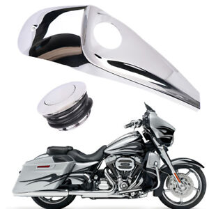 Smooth Dash Fuel Console Gas Tank Cap Cover Chrome For Harley Touring FLHT FLHX