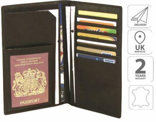 Portafoglio da viaggio in pelle Custodia per Passaporto Biglietto titolare Nero FI4005