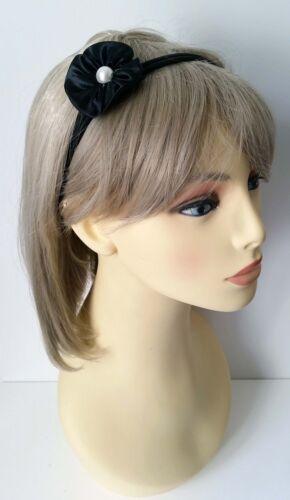 Gorgeous black satin /& pearl flower elasticated headband Kylieband