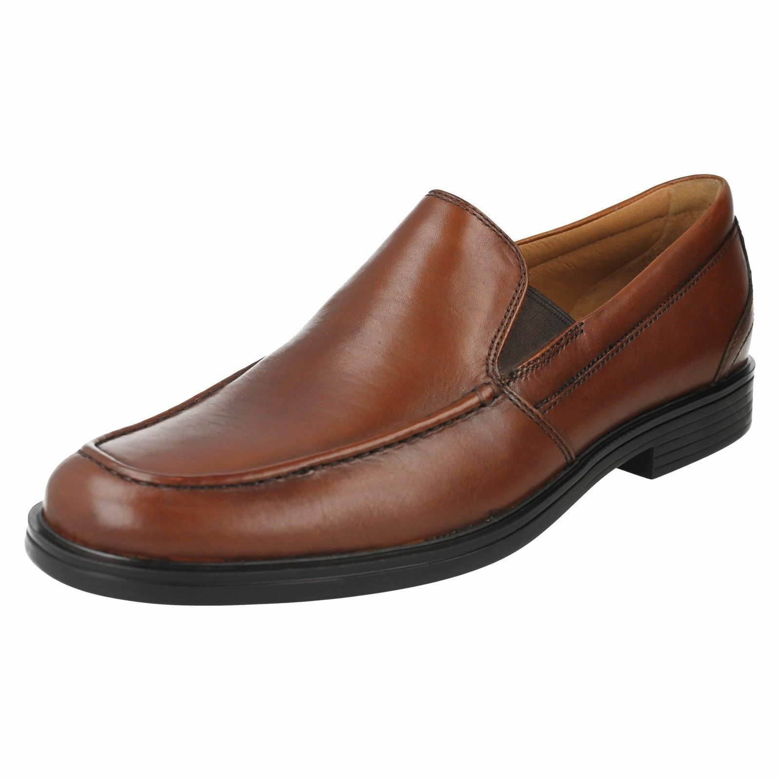 CLARKS UnAldric Slip  Uomo Leder UnstructuROT Slip On Schuhe