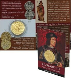 REPRODUCTION-Medieval-Coin-Richard-III-gold-plated-ANGEL-in-info-card-R3ACP