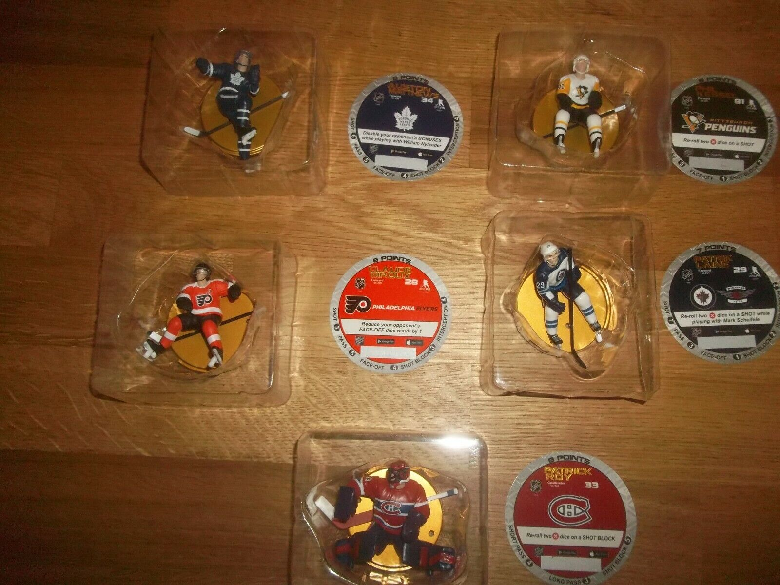 Imports Dragon Serie 4 complete set of 5 gold 2.5  NHL Figures Free Shipping