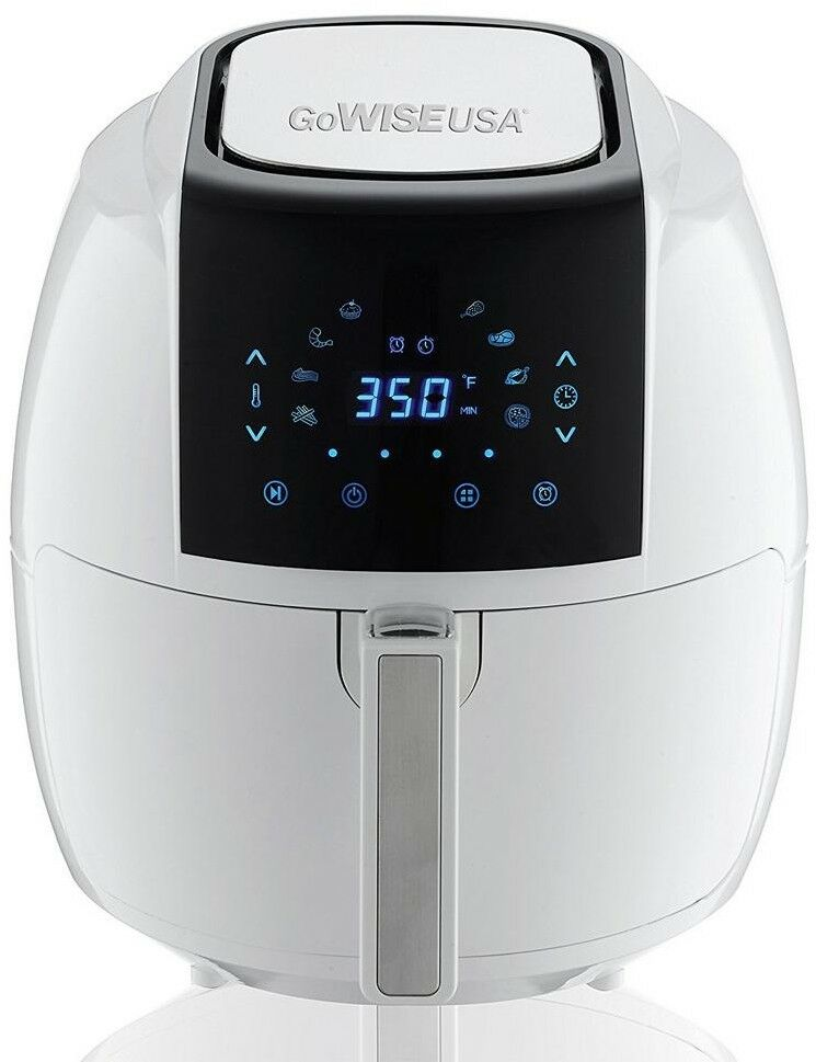 GoWISE USA Air Fryer Recipe Book 5.8 Qt. 8-in-1 Touch Screen blanc Detachable