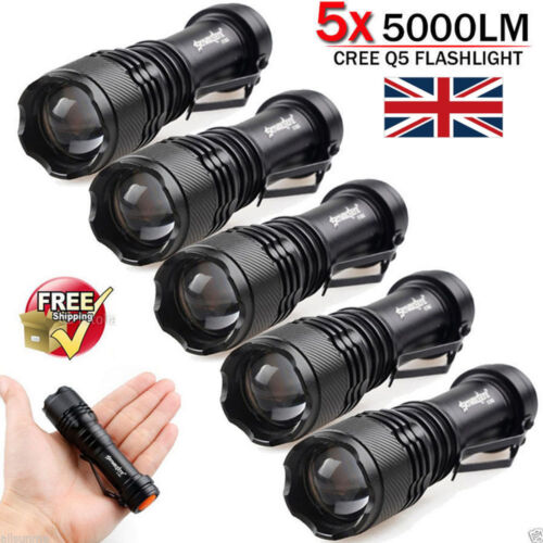 10x Lot 5000LM CREE Q5 LED AA//14500 ZOOMABLE Tactical Flashlight Torch Lamp UK.