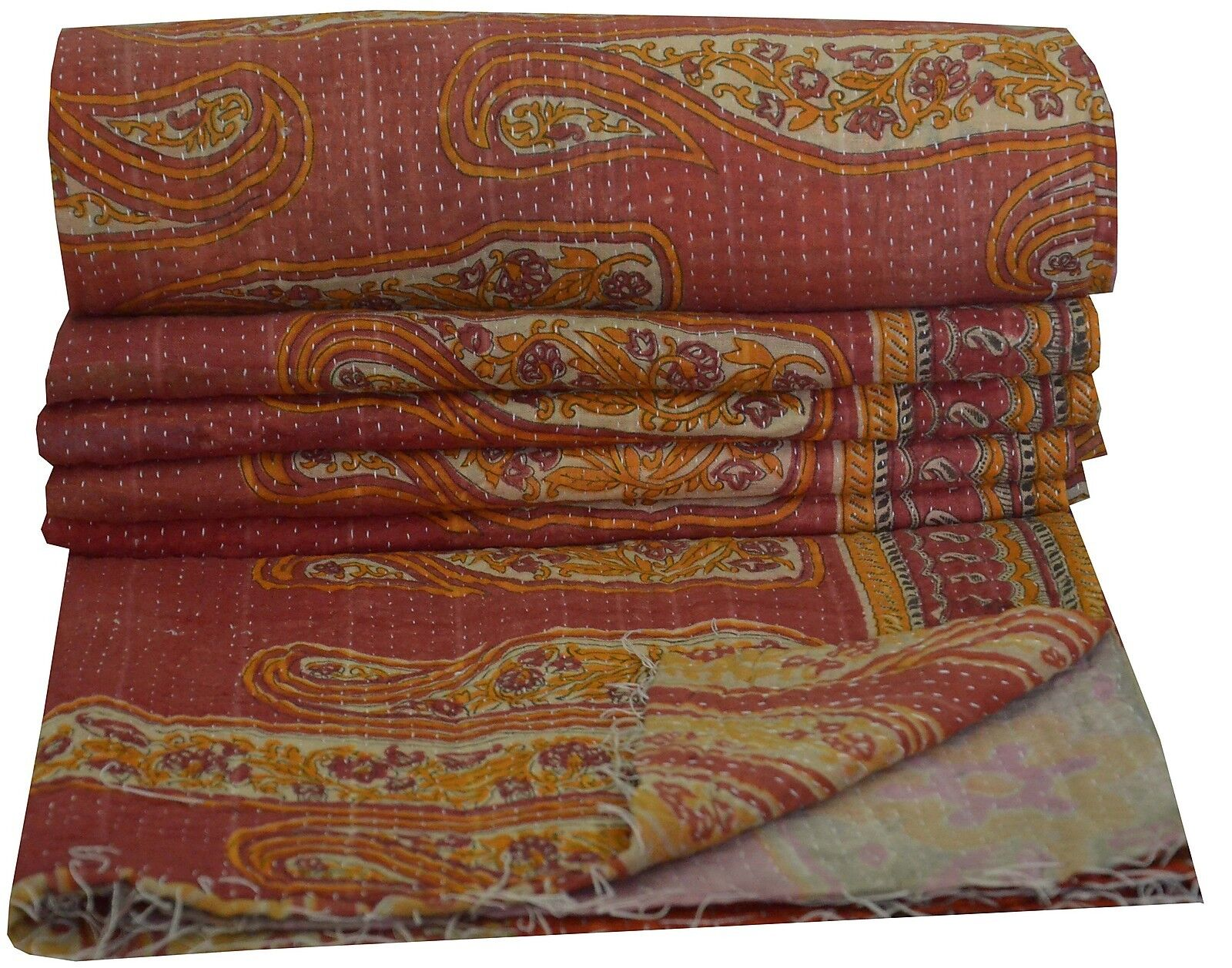 Indian Vintage Kantha Cotton Quilt Patchwork Blanket Bedding Bedspread Twin Größe