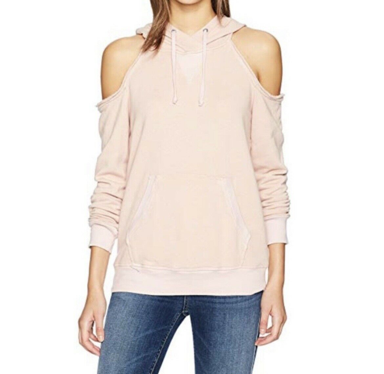 Splendid Pink Cold-Shoulder Pullover Hoodie Sweatshirt EUC Extra Small XS