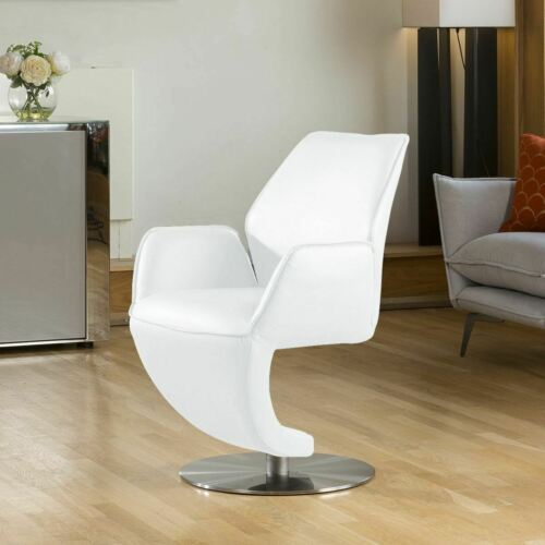 Quatropi Luxury Swivel White Leather Effect Dining Chair Heavy Duty