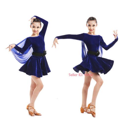 Kids Girls Latin Dance Tango Dress Long Sleeves Dancewear Competition Costume