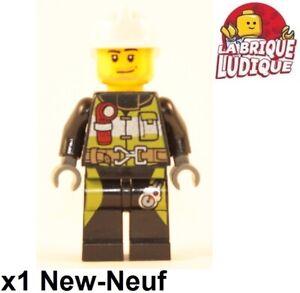 x2 NEW Lego White Minifig Headgear Fire Helmet For Firemen Minifigures
