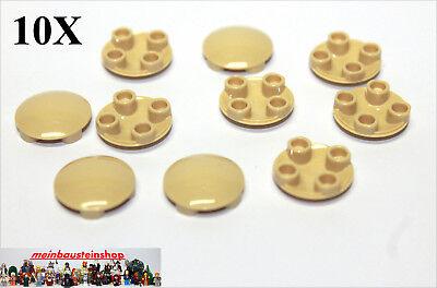 10X Lego® 92947 runde Basic Profil Riffel Rillensteine 2X2 Weiß White NEU