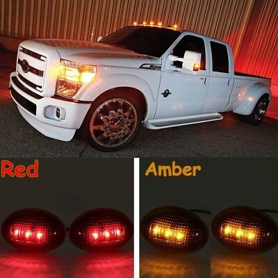 For 1999-2010 Ford F350 Amber//Red Side Fender Marker Dually Bed LED Light Kit