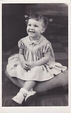 Vintage RPPC: Cute Little Girl, Hair In Pig Tails - Peter Pan Collar Dress
