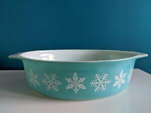 Vintage Aqua Pyrex Turquoise White Snowflake 2.5 Quart 045 Nice! Shiny No DWD
