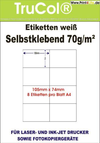 PREMIUM ETIKETTEN 105 x 74 MM AUF A4 BOGEN KOMP ZWECKFORM HERMA
