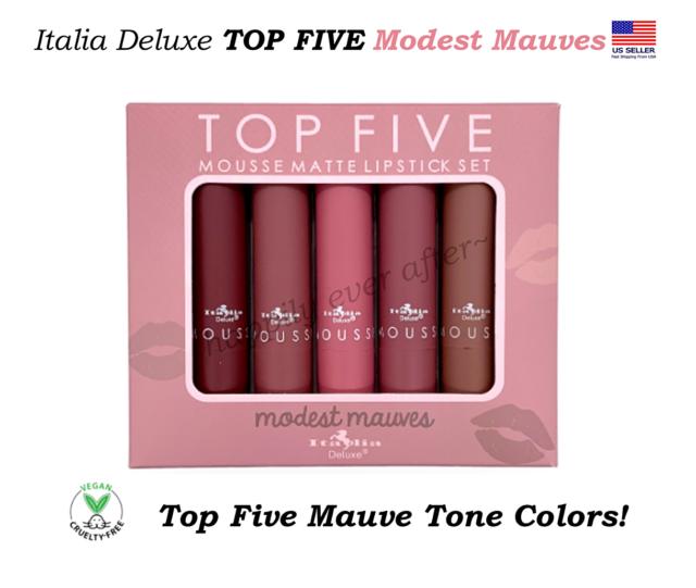 Italia TOP FIVE Mousse Matte Lipstick Set - Modest Mauves, Vegan Lipsticks!
