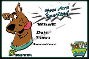 Scooby Doo Party Invitations with matching envelopes birthday