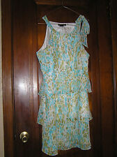 BCBG MAX AZRIA TIERED SLEEVELESS POLYESTER NECK TIE DRESS SZ XL 0416